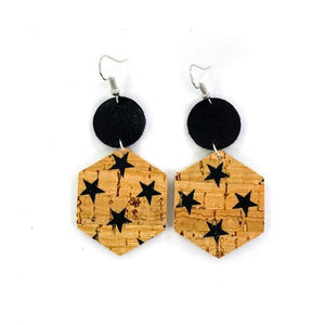 "Natural Cork Star Hexagons 2"" Earrings"