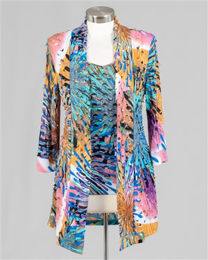Pink and Laser Cutout Print Cardigan