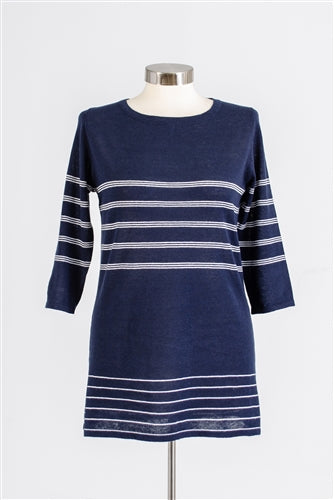Navy Stripe Knit Top