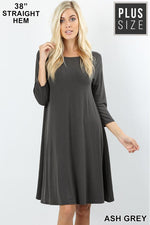PREMIUM FABRIC 3/4 SLEEVE FLARE DRESS WITH SIDE POCKETS