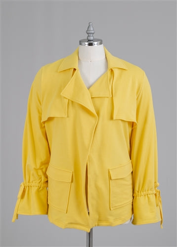 Yellow Knit PlusSize Jacket