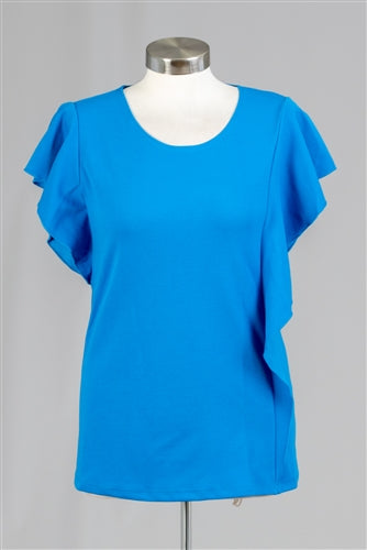 Solid Color Ruffle Knit Top