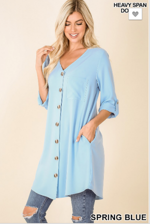 Spring Blue CARDIGAN FRONT TUNIC DRESS