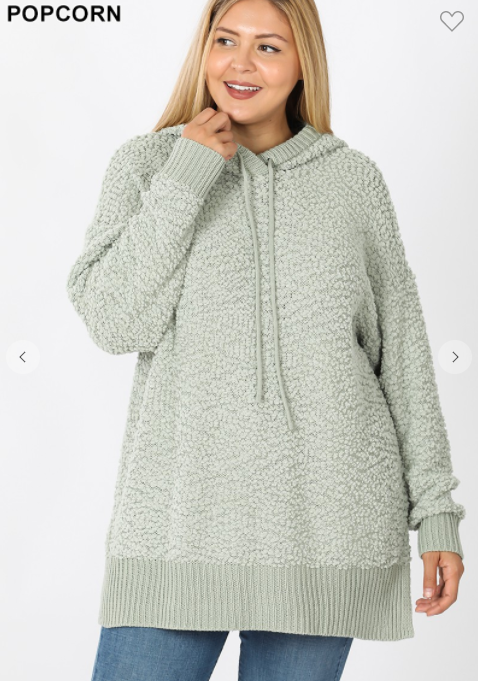 Sage popcorn sweater with hoodie
