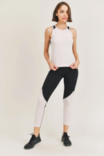 Color Block Tank with Sheer Mesh Trim & 7/8 Legging Set