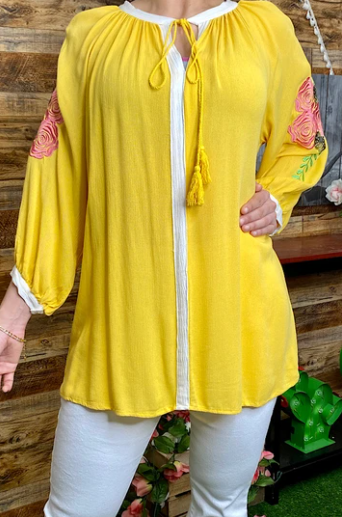 3/4 sleeve embroidery yellow top with tassel