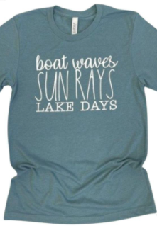 Plus Size Boat Waves, Sun Rays, Lake Days Graphic Tee