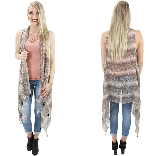 Sheer Snake Vest with Tassels - One Size