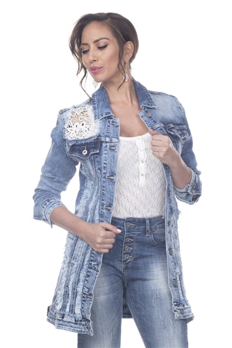 Lace Distressed Denim Jacket