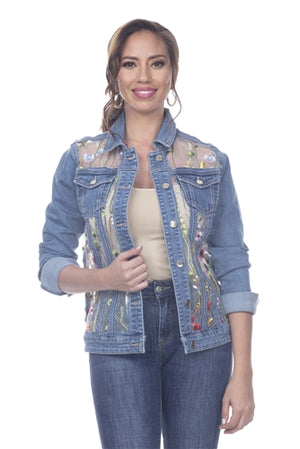 Sheer Embroidered Denim Jacket