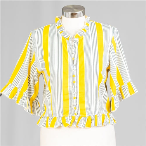 Yellow Stripe Ruffle Trim Stripe Top