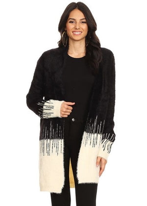 Fuzzy Knit Color Block Cardigan