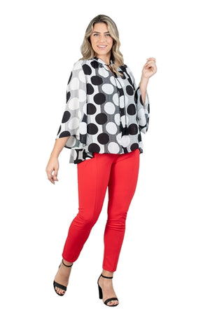 Black and White Bell Sleeve V-neck Tie PlusSize Top