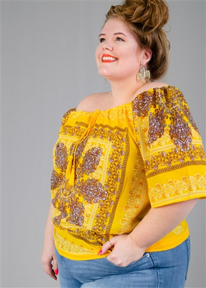 Yellow Paisley Print PlusSize Top