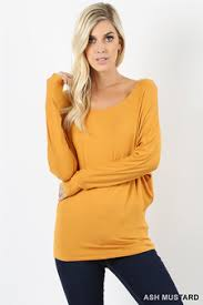ASH MUSTARD LONG SLEEVE DOLMAN TOP