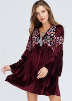 Burgundy Embroidered Floral Empire Waist Velvet Dress