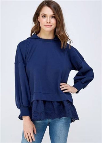 Lace Hem Hooded Knit Top