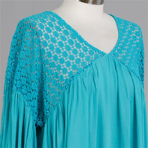 Turquoise Long Sleeve Tassel Tunic Top
