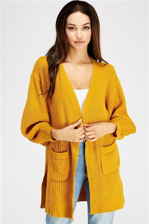 Mustard knit cardigan with pockets