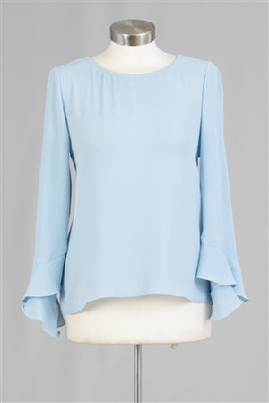 Powder Blue Flutter Cuff Top Blouse