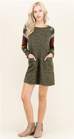 Olive knit dress with two front pockets