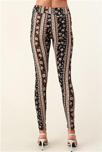 Brown and Oatmeal Print Pant