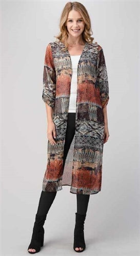 Navy print duster