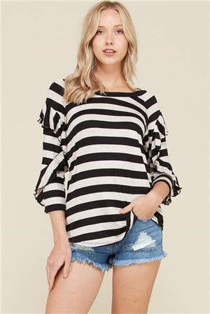 Vision Stripe Ruffle Top