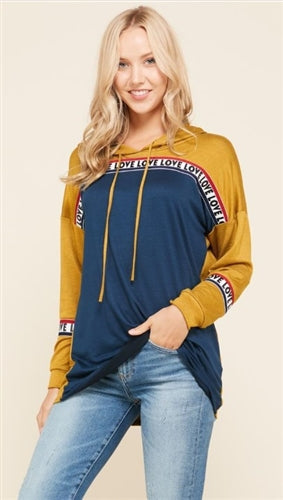 Mustard and Navy Hooded Top