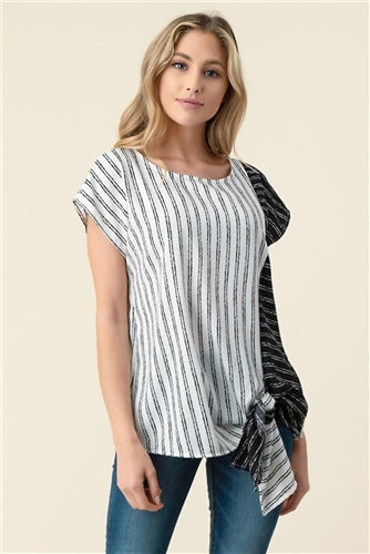 Contrast Pinstripe Side-tie Top