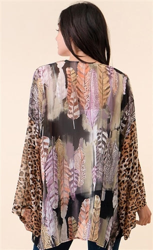 Feather and Leopard Mesh Sleeve Print Cardigan