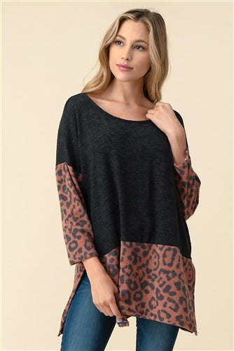 charcoal top with brick leopard print
