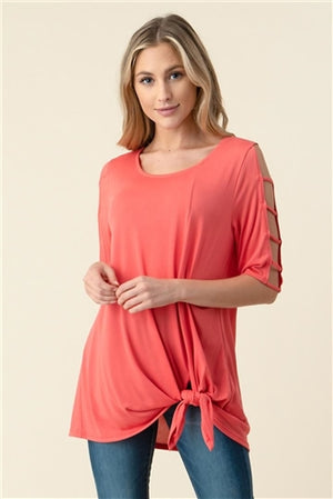 Solid Knot-front Knit Tunic Top
