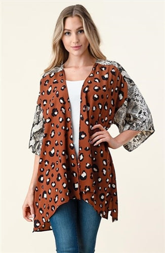 Multi-Animal Print Cardigan