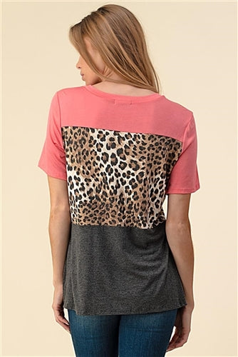 Coral Leopard Print Side Knot Knit Top