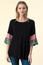 Black Tiered Bell Sleeve Knit Top