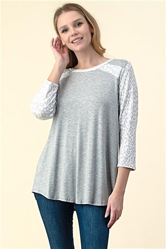Solid Gray with Animal Print Trim Knit Top
