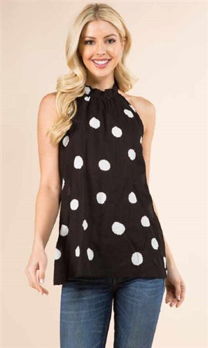 Black and white polka dot halter top