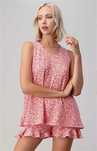Coral Two piece floral short and top