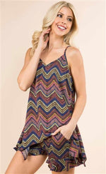 Blue chevron two piece short and top