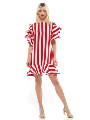 Red and White Ruffle Hem and Sleeve Print Dress