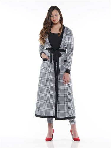 Houndstooth Long Belted Jacket