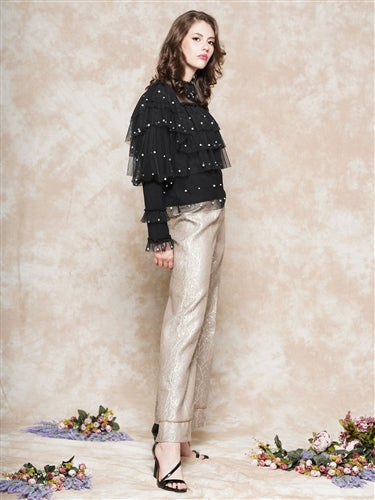 Metallic Wide Legged Pants