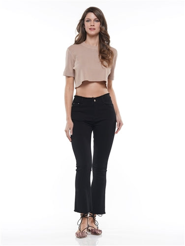 Black Flare Stretch Denim Pant
