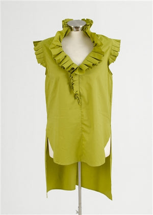 WHY - Olive Sleeveless Dress Top w/ruffle detail