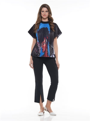 Pleated Graphic Face Design Pleated Top