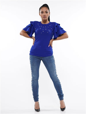 Royal Blue Pearl Top