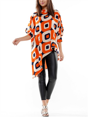 Orange and navy asymmetrical top