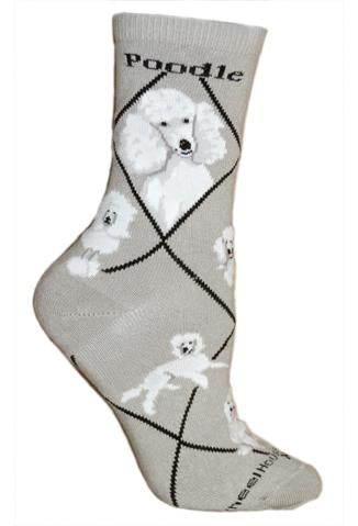 Poodle, White On Gray Socks