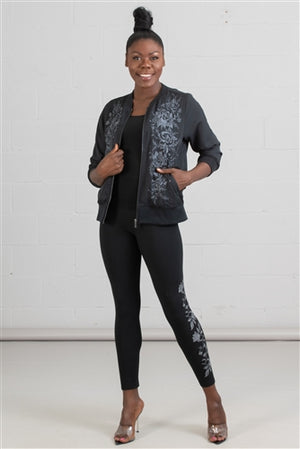 Black and Silver Floral Embroidered Leggings